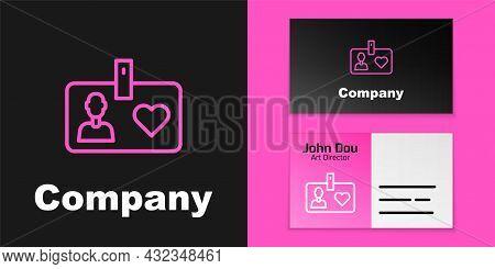 Pink Line Identification Card Volunteer Icon Isolated On Black Background. Volunteer Id Card Or Badg