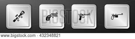 Set Sniper Optical Sight, Small Gun Revolver, Desert Eagle And Mauser Icon. Silver Square Button. Ve