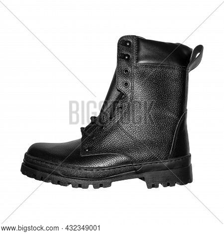 Black Leather Army Boots On A White Background.new Military Boots On A White Background.high Statuto