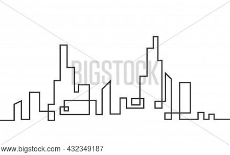 Silhouette Of An Abstract City Is A Continuous Line. A Modern Urban Landscape Made Of A Solid Line.