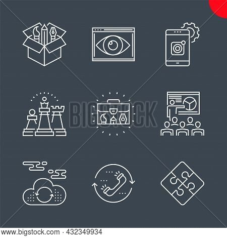Seo Related Vector Line Icons Set. Mobile Apps Development, Cloud Computing, Seo Training, Strategy,