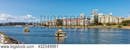 Victoria, Vancouver Island, British Columbia, Canada - August 17, 2021: Modern City Skyline In Downt