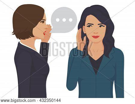 Gossip Girl Whispering In Ear Secrets, Rumor. Word Of Mouth