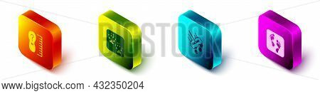 Set Isometric Square Measure Foot Size, Fox Paw Footprint, Mop And Human Icon. Vector