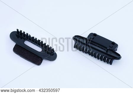 Plastic Black Brush Attachment For Garment Steamer. Bottom And Top View.
