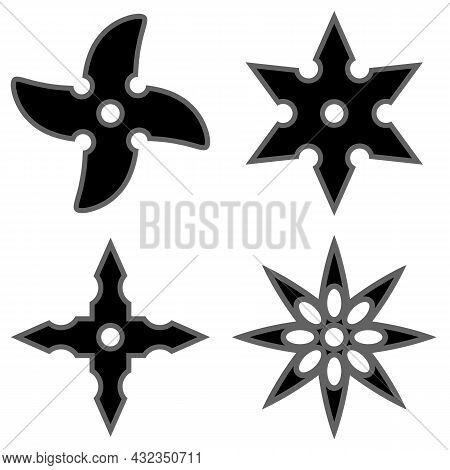 Set Of Ninja Star. Asian Traditional Weapon. Shuriken Logo.