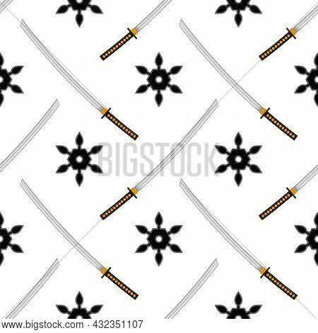 Set Of Ninja Star. Asian Traditional Katana Weapon. Shuriken Logo. Japan Ancient Sword.