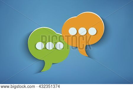 Concept Of Online Customer Service And Advice Chat. Two Speech Bubbles On Blue Background. Social Ne