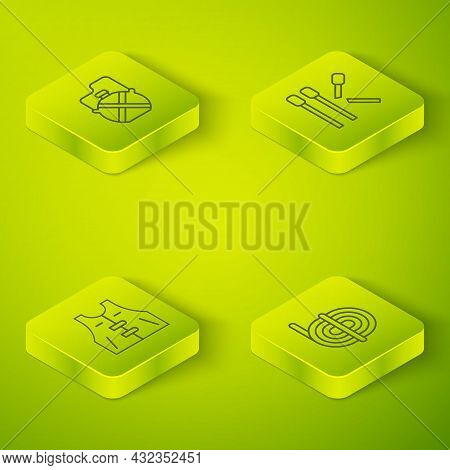 Set Isometric Line Matches, Hunting Jacket, Climber Rope And Canteen Water Bottle Icon. Vector