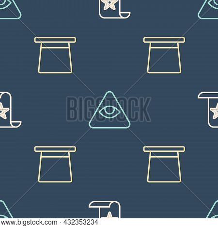 Set Line Ancient Magic Book, Magic Hat And Masons On Seamless Pattern. Vector