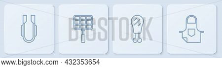 Set Line Meat Tongs, Chicken Leg, Barbecue Steel Grid And Kitchen Apron. White Square Button. Vector