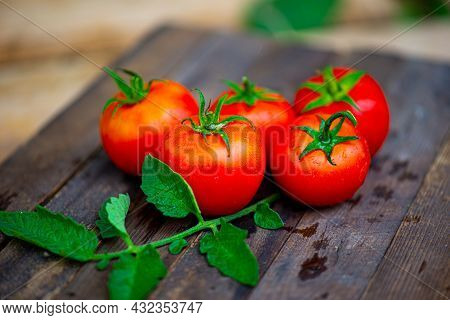 Five Delicious Red Tomatoes Lie On A Dark Background