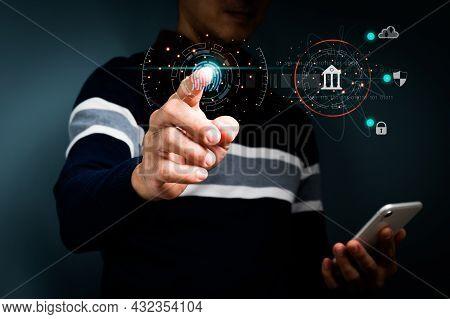 Businessmen Use Fingerprint Identification Access Personal Financial Data.biometrics Security,  Idea