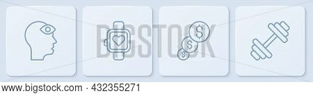 Set Line Man With Third Eye, Financial Growth And Dollar, Smart Watch And Dumbbell. White Square But