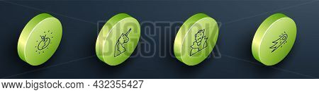 Set Isometric Line Poison Apple, Unicorn, Vampire And Fireball Icon. Vector