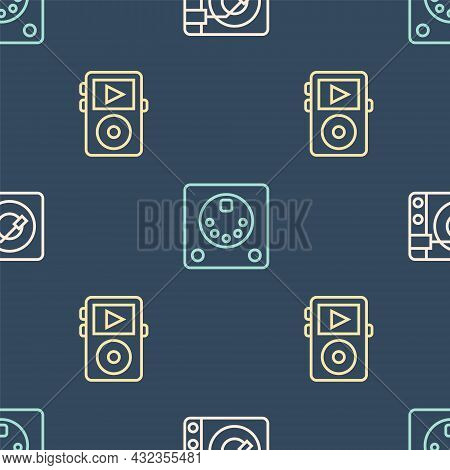 Set Line Vinyl Player With Vinyl Disk, Music And Drum Machine On Seamless Pattern. Vector