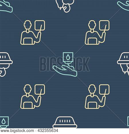 Set Line Donation Food Box, Teacher And Blood Donation On Seamless Pattern. Vector