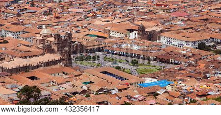 Beautiful View Of Historic Centre Of Cusco Or Cuzco City, Peru, Red Roofs, Plaza De Armas