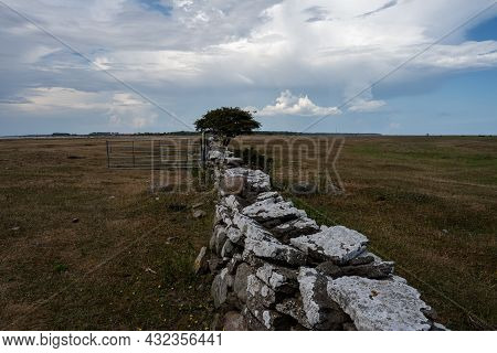 A Limestone Wall In A Moor Landscape. Picture From The Baltic Sea Island Of Oland