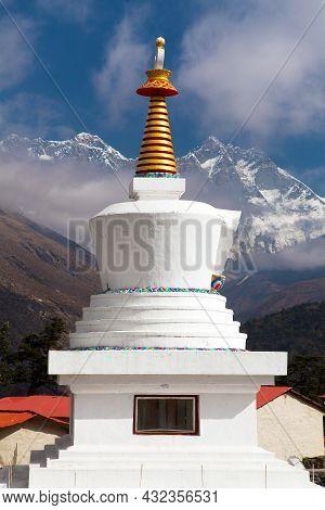 Tengboche Monastery With Stupa And Mount Everest, Lhotse, The Best Buddhist Monastery In Khumbu Vall