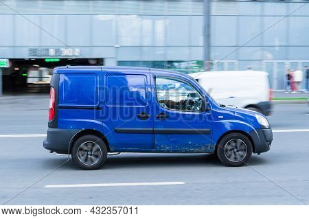 Fiat Doblo Rides On The City Road. Delivery Van Fiat Doblo In Motion. Moscow, Russia - August 2021