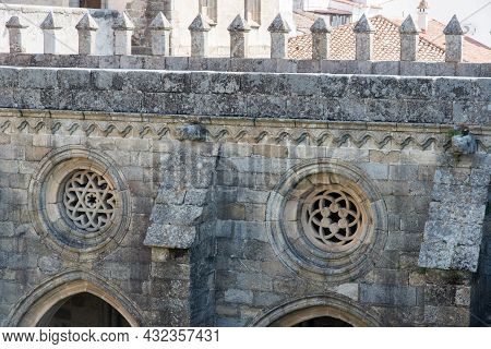 Beautiful Windows With Different Designs In The Evora Cathedral, Portugal, Europe