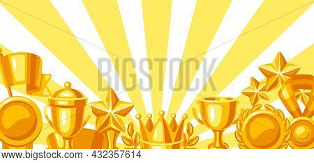 Awards And Trophy Background. Reward Items Sports Or Corporate Competitions.
