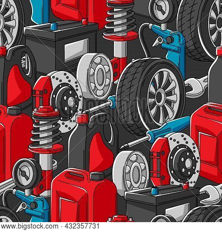 Car Service Seamless Pattern. Auto Center Repair Background For Advertising With Transport Items.