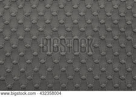 Textile. The Material Or Pattern Is Gray With A Pattern. Texture. Fabric For Sewing Clothes