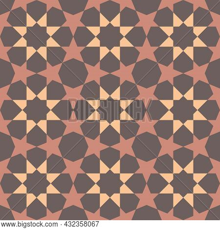 Eight-pointed Shape Background In The Center. The Five-pointed Star Is All Around. Seamless Abstract