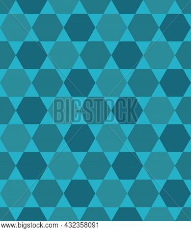 Seamless Abstract Geometric Pattern Blue Green. Hexagon And Triangle Shape Background Combined. Arra