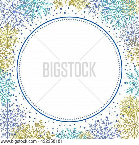 Winter Frame With Blue And Golden Arabesques And Snowflakes. Fine Greeting Card. Pattern With Snowfl