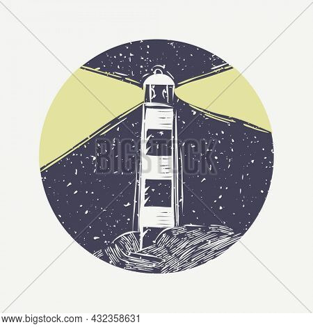 Muted color lighthouse linocut in cute illustration