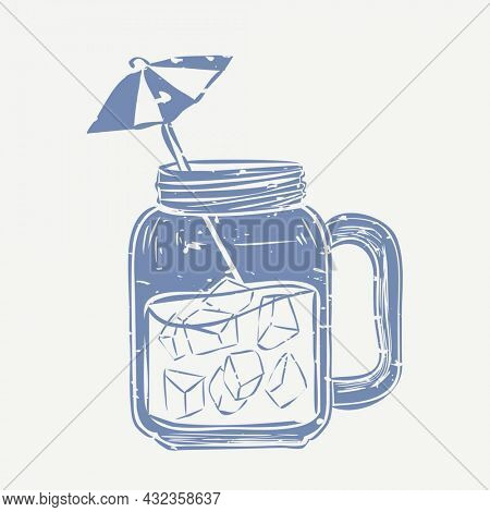 Muted blue drink linocut in cute illustration