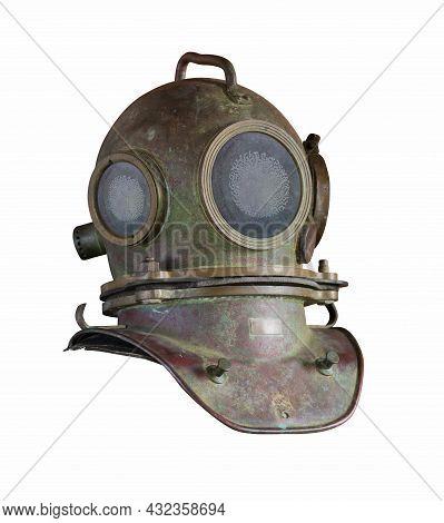 Soviet Retro Diver's Helmet Isolated On A White Background.