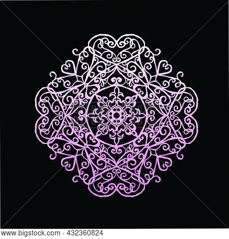 A Pattern, A Round Mandala With Patterns With Creepers And Hearts With Petals Looks Like A Beautiful