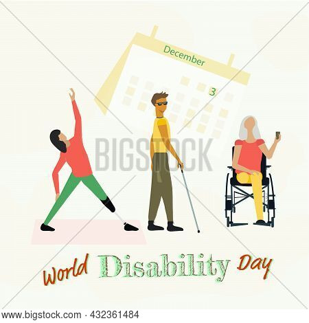 December 3. Calendar Sheet And Disabled People, International Day Of Persons With Disabilities .vect