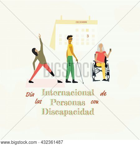 Background With Disabled People, International Day Of Persons With Disabilities . Día Internacional