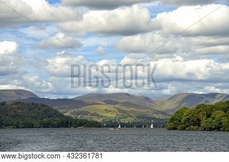 Windermere, A Large Lake In Cumbria's Lake District National Park, Located In Northwest England.