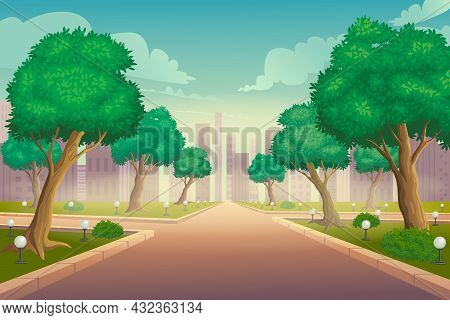 Illustration Of City Park In Summer Vector Background. Park With Lawn And Green Trees. Walkway With