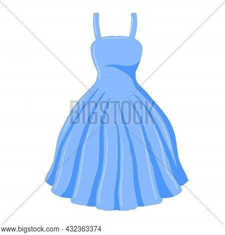 Ball Gown. Women Clothing. Beautiful Dress. Flat Cartoon