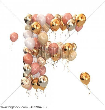Letter F from balloons iisolated on white. Text letter for holiday, birthday, celebration. 3d illustration