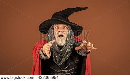 31 October. Gothic Man In Halloween Costume. Magic Concept. Experienced And Wise. Wizard Costume Hat