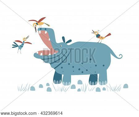 Cute Hippo With Birds Isolated On A White Background. Birds Brush The Teeth Of A Hippopotamus. Illus