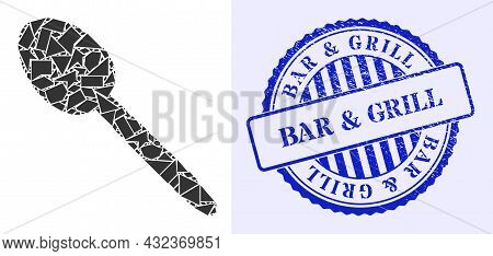 Debris Mosaic Spoon Icon, And Blue Round Bar And Grill Grunge Stamp Seal With Caption Inside Round F