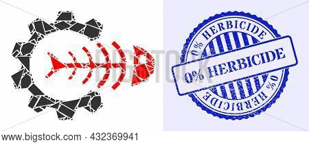 Spall Mosaic Toxic Industry Icon, And Blue Round 0 Percents Herbicide Grunge Watermark With Tag Insi