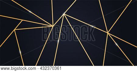 Luxury Wallpaper Or Background. Abstract Image For Websites. Many Golden Lines. Unusual Shapes And F