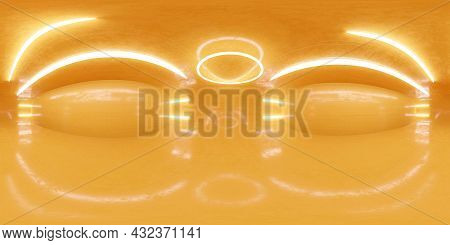 Full 360 Degree Panorama Environment Map Of Orange Industrial Hall 3d Render Illustration Hdri Hdr V