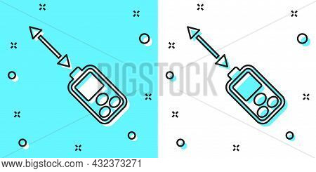 Black Line Laser Distance Measurer Icon Isolated On Green And White Background. Laser Distance Meter