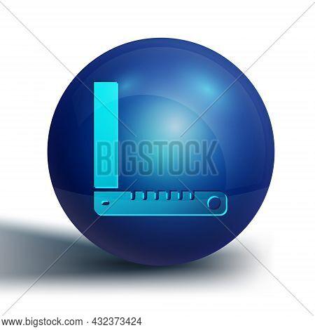 Blue Corner Ruler Icon Isolated On White Background. Setsquare, Angle Ruler, Carpentry, Measuring Ut